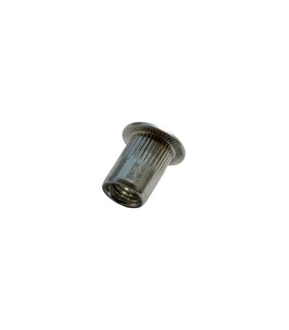 Заклепка M8*16 мм алюминиевая с внутренней резьбой, цилиндрический бортик, с насечкой